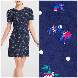 DRAPER JAMES Floral Dot Midi Dress Blue Size 10